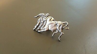 Pewter Cowboy Rodeo Steer Hat Pin Lapel Pin Marked I.J.S.