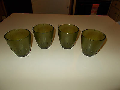 4 pc Texas Ware Melmac Short Tumblers in Green~ VERY Nice!