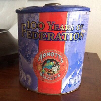 Collectable Arnott 100 YEARS OF FEDERATION Biscuit Tin