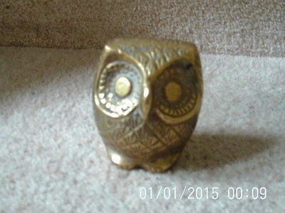 Vintage Retro Solid Brass Owl Ornament Paperweight