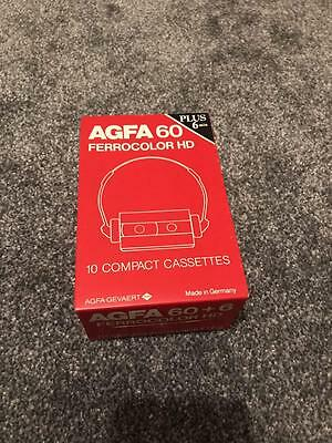 Brand New Sealed x10 Agfa Ferrocolor HD 60+6 Blank Cassette Tape Made In GERMANY