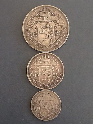 Cyprus 1921 King George V Silver  Coins Complete Set  4,5 - 9 - 18 Piastres