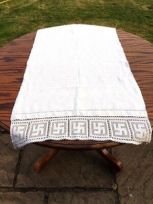 X 2 Vintage Table Runners Crotched Sun Cross Cotton Linen Very Old