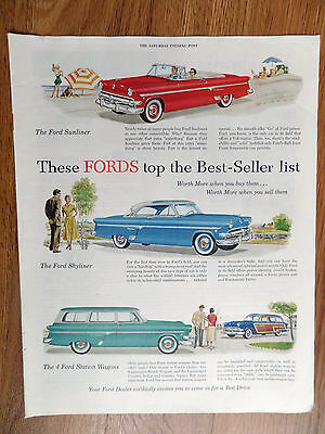 1954 Ford Crestline Ad Sunliner Skyliner & Country Sedan & Country Squire Wagons
