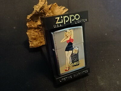 1997 Zippo Camel Cigarette Pin Up Girl Lighter Silver Tone With Case Made In USA