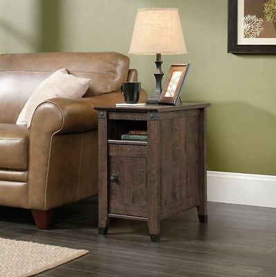 Sauder Carson Forge Collection Side Table in Coffee Oak Finish
