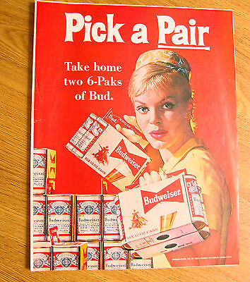 1961 Budweiser Beer Ad Pick A Pair Take Home Two 6-Paks of Bud