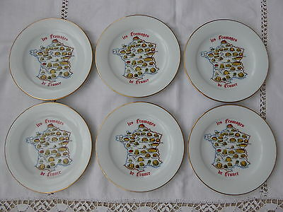 6 x LIMOGES CHEESE DESSERT PLATES - FRENCH VINTAGE