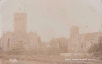 Rp Swaffham Prior Churches By Gillson  R Photo Cambridge Newmarket  Posted 1906