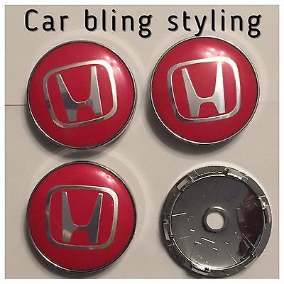 Honda Alloy  4 wheel centre caps 60mm Caps Civic Accord Type R Black Red Silver