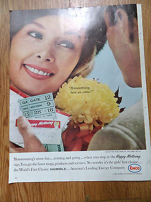 1962 Humble Oil Enco Ad Happy Motoring  NCAA Homecoming Football Theme