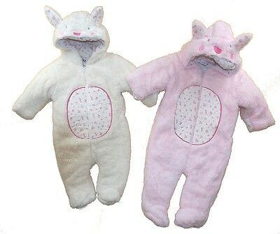 Baby Girls Furry Pramsuit Snowsuit Adorable Rabbit & Floral Design  AW'17