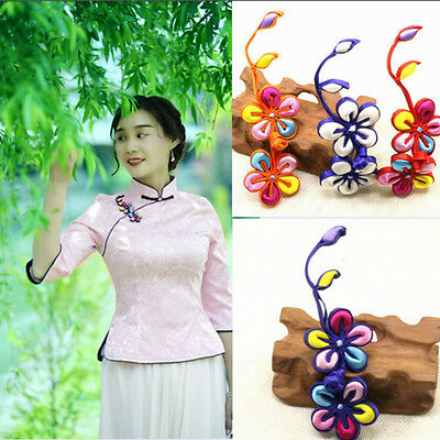 1pc Large 3D Floral Satin Frog Button Fasteners Knot Closure Ethnic Dress Decor