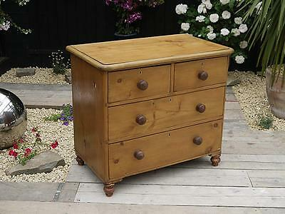 Nice Chunky Old Antique (Victorian) Stripped Pine Chest Of Drawers - We Deliver