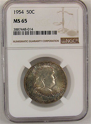 1954 Franklin Half Dollar Ngc Ms65 - Toned