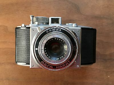 Agfa Karat 35mm vintage folding camera with original leather case