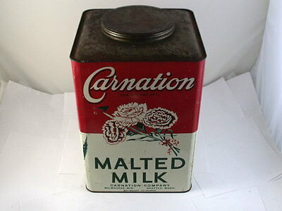 Vintage Large Carnation Malted Milk Tin Rare 25 Lb Size Milwaukee Wis