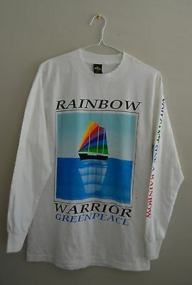 VINTAGE 1980s DEADSTOCK RAINBOW WARRIOR GREENPEACE PEACE PROTEST T-SHIRT
