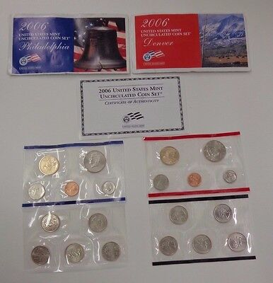 United States Mint 2006 Uncirculated Coin Set 20 coins Denver & Philadelphia