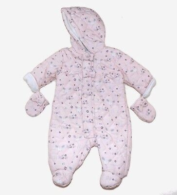 Baby Girls Pink Padded Snowsuit Woodland Fawns Design by Chloe Louise AW'17