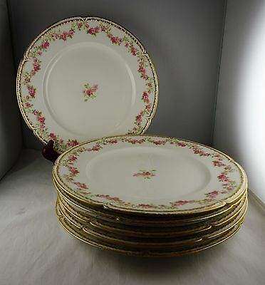 Five GDA Limoges Double Gold Floral Dinner Plates French Porcelain