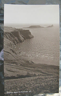 Postcard. Worms Head, Nr. Swansea, Wales. Unused. Sepia. e3