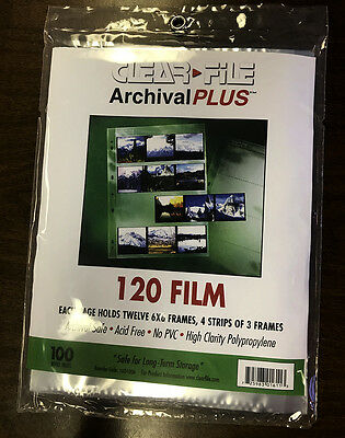 Print File 120 Film Negative Pages Archival Preservers 120-4B (100 pk) 160110B