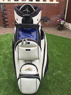 Powakaddy Cart Golf Bag  White Blue  And Black With Full Raincover