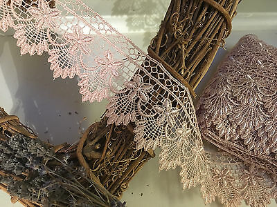 """~Bows Ribbon and Lace~55mm/2.25"""" Simply Stunning Rose Gold Guipure Lace Trim"""