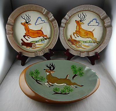 3 Stangl Pottery Ashtrays with Deer Stag Motif - 2 Windproof & # 3926 Oval