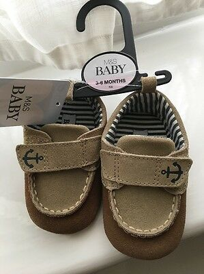 M&s Real Leather / Suede Pram Shoes 3-6 Months , New !