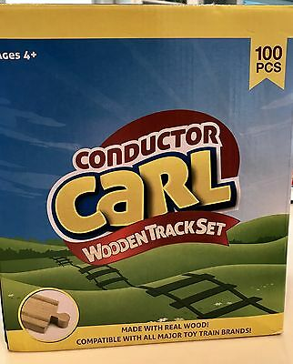 Conductor Carl 100 Piece Bulk Train Tracks Only - Compatible w/ Wood Train Sets