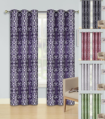 2 Beautiful Printed Grommet Panels Lined Blackout Window Curtain Treatment