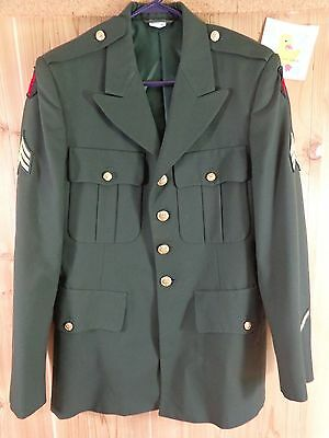 US ARMY Military Blazer 38R Green 34th RED BULL Infantry Division National Guard