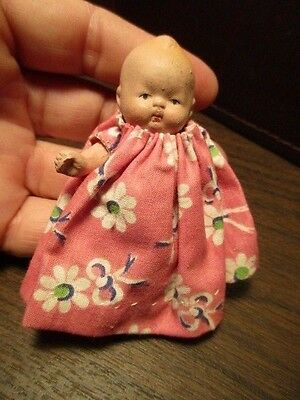 Vintage Small Jointed Porcelain Bisque Baby Doll - Made in JAPAN - Pink Dress