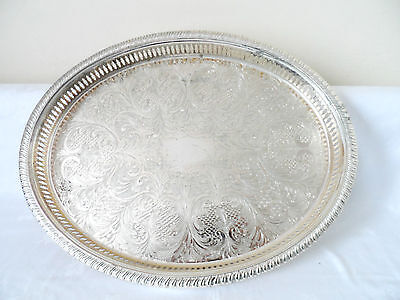 Large Oval   Vintage   Cavalier   Silver Plated Engraved  Gallery Tray