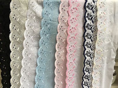 """~Bows Ribbon and Lace~3""""/75mm Premium Quality Cotton Broderie Anglaise Flat Lace"""