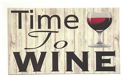 Time To Wine Timber Look Sign Vintage Wall Plaque or Hanging Bar House Kitchen