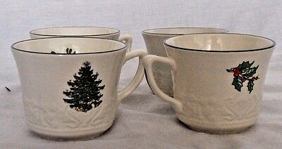 x4 Royal Stafford CUTHBERTSON Christmas Tree Tea Cups
