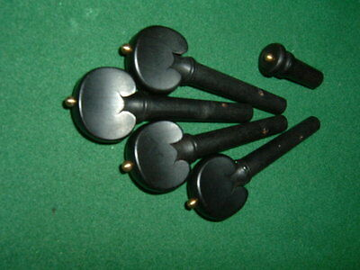 Black Hardwood Violin Tuning Pegs & Tail End Pin with gold coloured beading