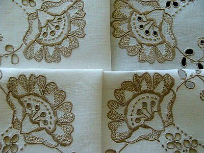 """BEAUTIFUL Vintage MADEIRA Linen Tablecloth 44"""" Topper Hand Embroidered PRISTINE"""