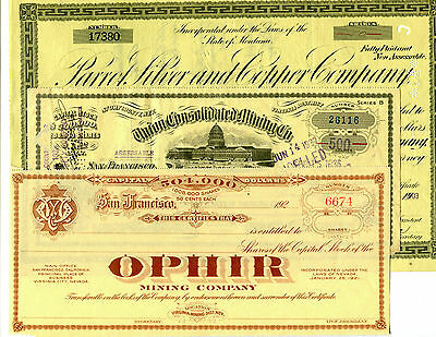 3 Different Old Mining Stock Certificates