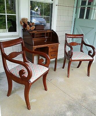 2 Solid Walnut Wood  Empire Side Accent Parlor  Arm Chairs Upholstered