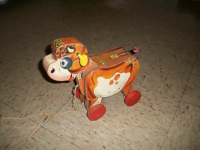 Vintage Paper Litho Wood Cow Pull Toy Molly Moo-oo Moo-oo 190 Fisher Price 1950s