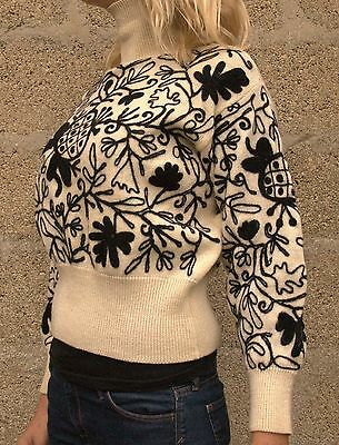 Vintage 1980s French Connection Indian Floral Embroidered Pure Wool Jumper