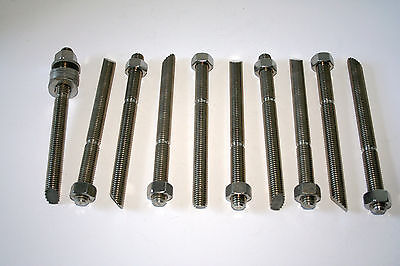"Lot Of 10  5/8"" X 7 1/2"" Stainless Steel Chisel Anchor Rod With Nuts & Washers"