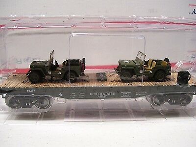 Menards O Gauge Military Flatcar with Two Jeeps- NEW Release!