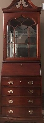 SECRETARY Ladies Desk Grand Lighted Cabinet VINTAGE