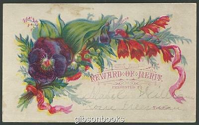 Victorian Reward of Merit with Pansy and Bouquet of Flowers