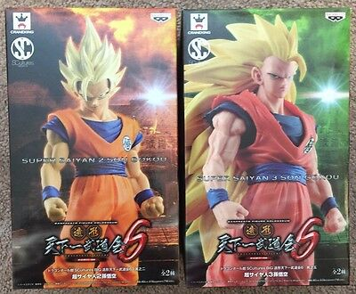 "Banpresto Dragon Ball Z-7"" Super Saiyan 2 & 3 Goku Figures SCultures Budoukai 6"